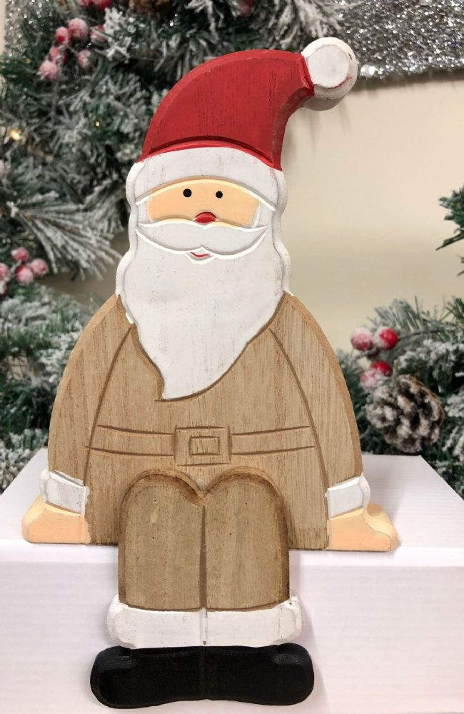Father Christmas Natural Wooden Shelf Sitter Mantel Ornament